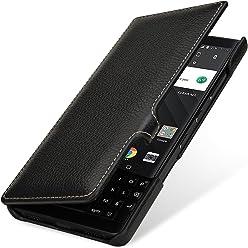 StilGut Book Type Case, custodia per BlackBerry Key2 a libro booklet in vera pelle con funzione on/off, Nero con Clip