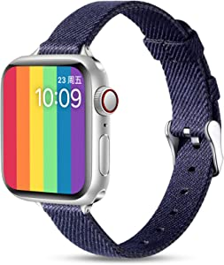 Easuny Slim Fabric Band Compatible with Apple Watch 40mm 38mm for Women Men, Soft Woven Canvas Replacement Strap for iWatch SE & Series 6 5 4 3 2 1, Slim Thin Durable Wristband Accessory, Dark Blue