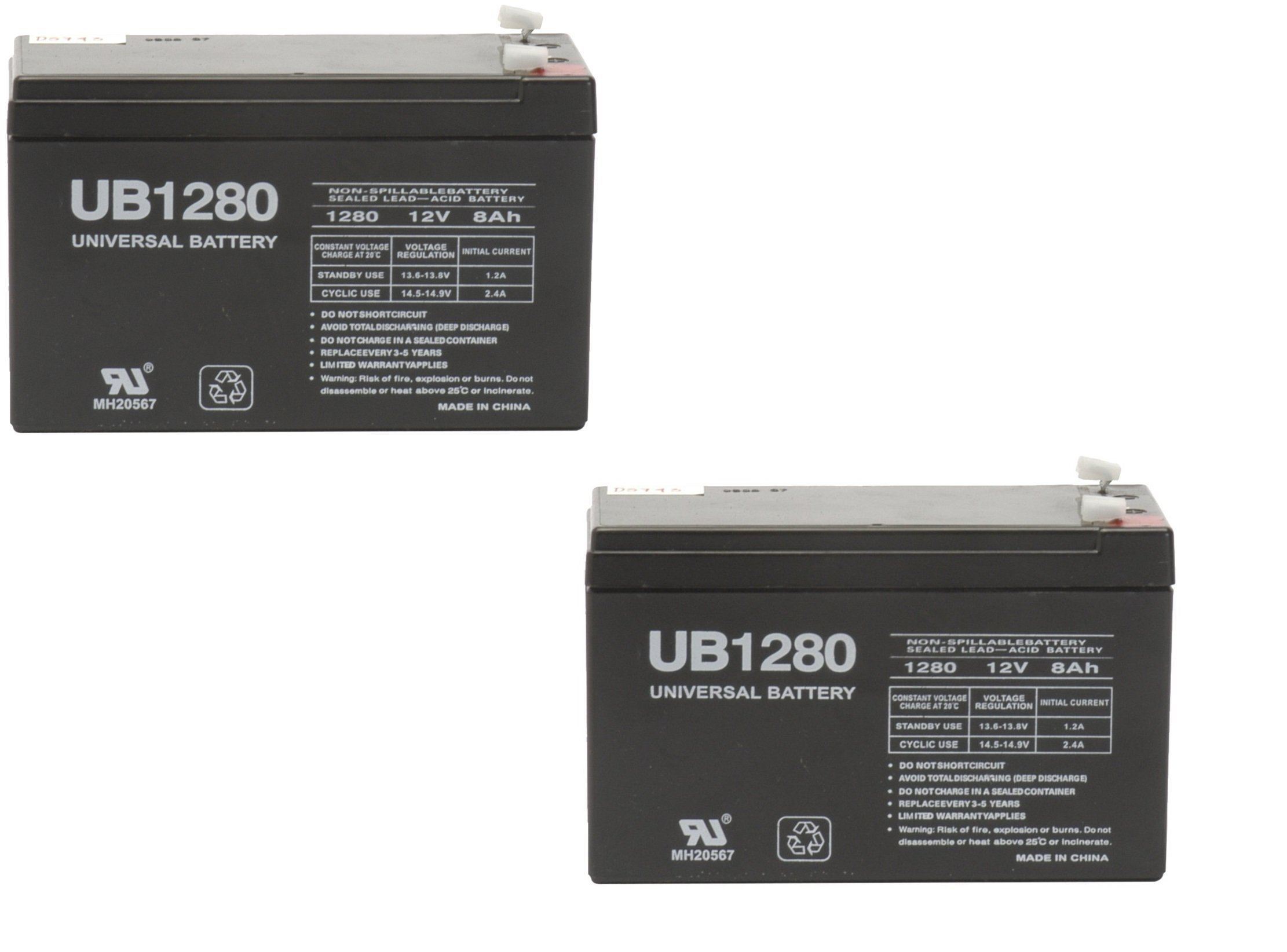 12V 8AH Battery UB1280 D5779 RB128 PS1272 APC 400 420 Alarm Security System - 2 Pack