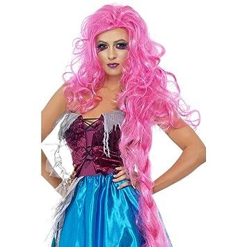Peluca rosa RAPUNZEL de cuento de hada peluca cabello peluca rosa largos para disfraz peluca de