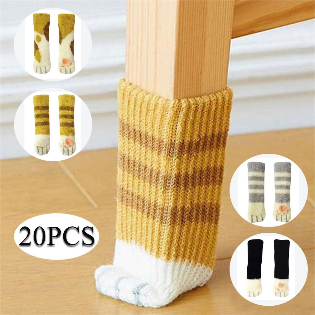 20PCS Furniture Socks /Chair Leg Floor Protector With Cute Cat Paw ...