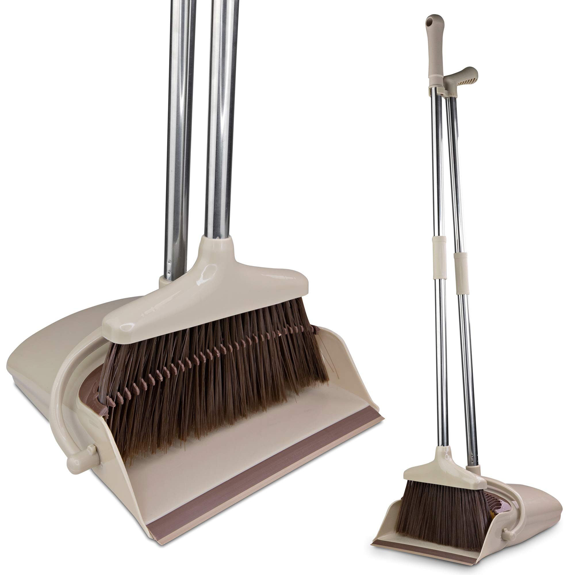 Broom and Dustpan Set [2019 Version] - Stand Up Brush and Dust Pan Combo for Upright Cleaning - Remove Hair with Built-in Wisp Scraper - Kitchen, Outdoor, Hardwood Floor & Garage Tiles Clean Supplies by Belleford (Image #2)