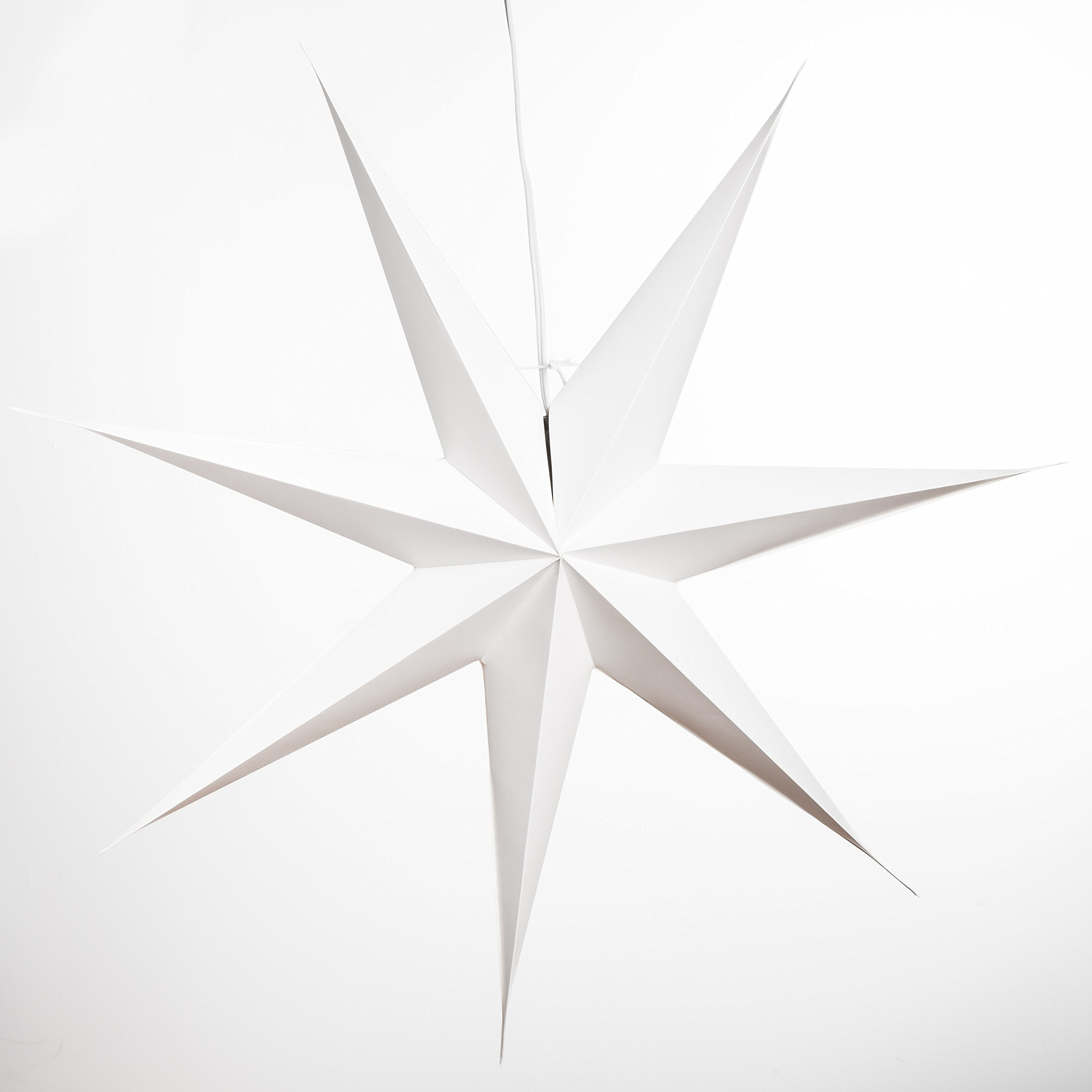 7 Pointed White Paper Star Light with 12 Foot Power Cord Included