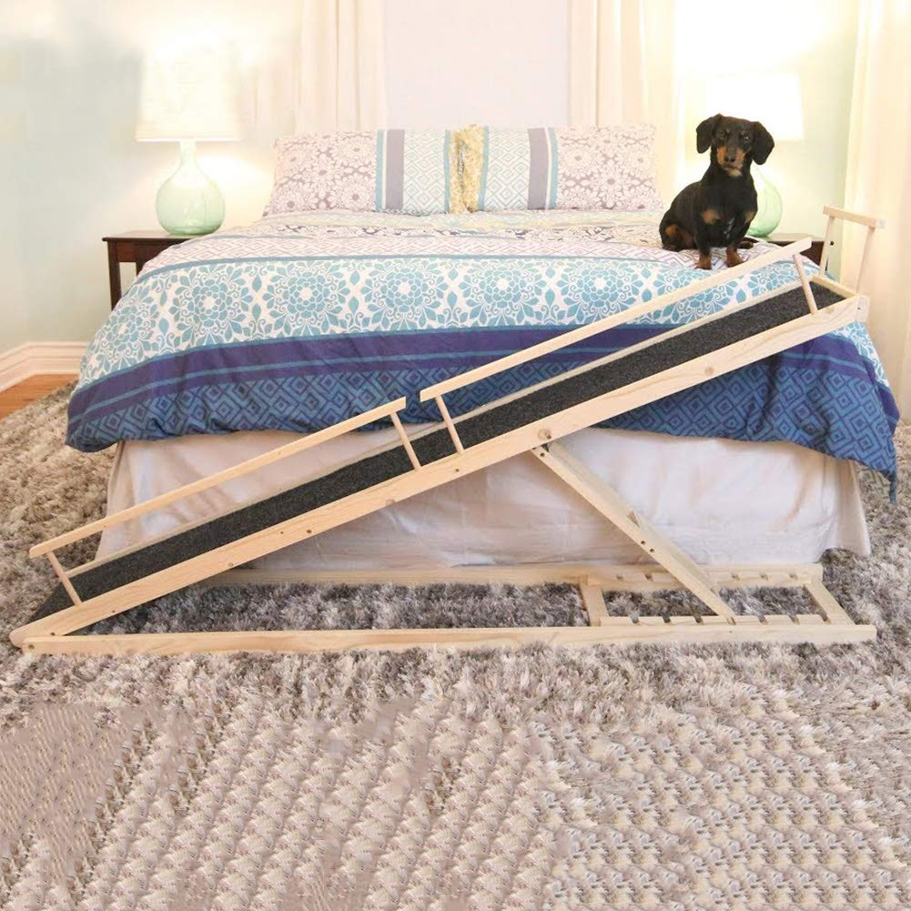 MDBT Dog Bed Ramps for Small Dogs, Wood Pet Ramp for High Beds, 59 in. Long Adjustable 37 in. Tall Supports Cats and Dogs Up to 30 lbs by MDBT