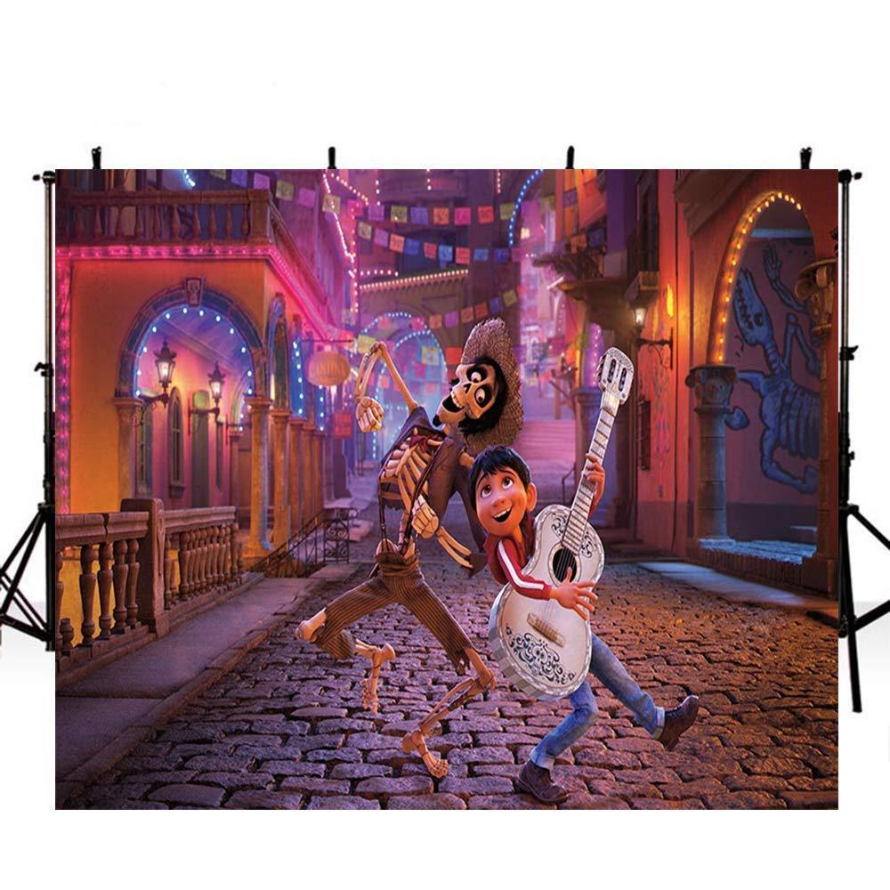 Coco 誕生日バナー パーティー背景 装飾 7x5フィート 村 街 写真 背景 レンガ ストーン ストリート 写真 背景 ベビーシャワー用   B07HGWWL3P