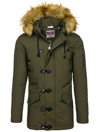 BOLF Herren Jacke Parka Winterjacke mit Kapuze Knopfleiste Reißverschluss  täglicher Stil 4D4  Amazon.de  Bekleidung 8f5cfeac90