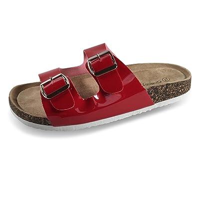 Damen Sandalen Fußbett Komfort Sandaletten Metallic Pantoletten Slipper Clogs BY2 (39, Silber) Schuhtraum