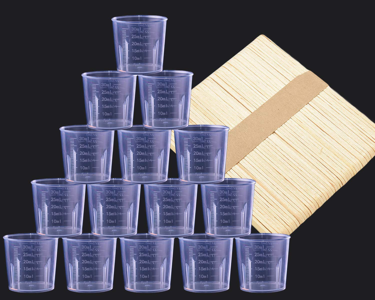 Chougui 50 Pack 30ml Clear Graduated Plastic Cups Measuring Cups with 50 Pack Wood Stir Sticks for Mixing Paint, Stain, Epoxy, Resin Chougui- resin mixing cups