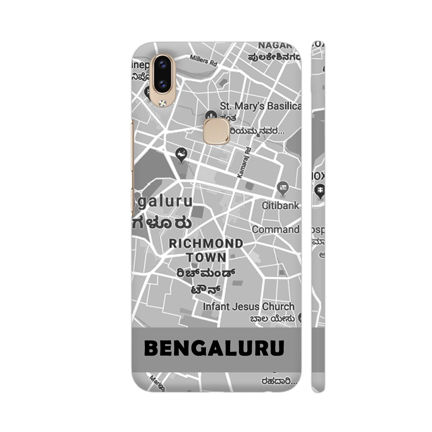 Colorpur Vivo V9 Cover Bangalore Map In Grey Printed Amazon Electronics