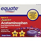 Equate, Junior Pain Reliever, Grape Flavor, Ages 6-11, 24 Meltaways Tablets, Acetaminophen 160 mg