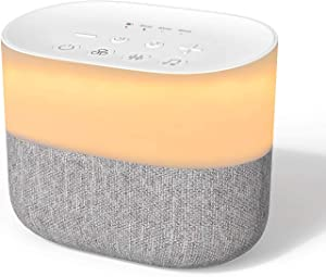 Lecone Fabric White Noise Machine, Sleep Therapy Speaker with Night Light 26 Soothing & Natural Sounds with Auto Off Timer & Memory Function for Adults Kids at Home Office Portable Nursery Yoga Travel