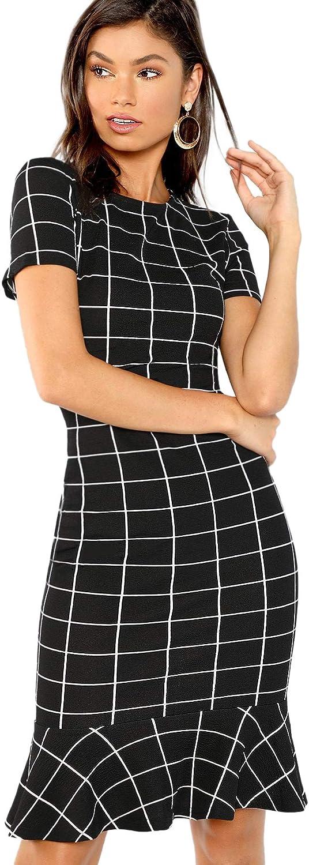 Floerns Women's Short Sleeve Plaid Bodycon Pencil Knee Length Fishtail Dress