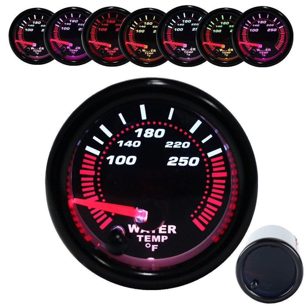Dewhel Black Water temp Temperature Gauge Universal Meter 7-Colors LED 52mm 12V CAR Auto Gauges 100-250 ° F W/ Sensor