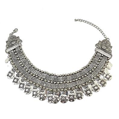 Vintage Tribal Tibet Silver Leaf Round Flower Statement Collar Choker Bib Short Chain Wide Necklace nCRx7yt