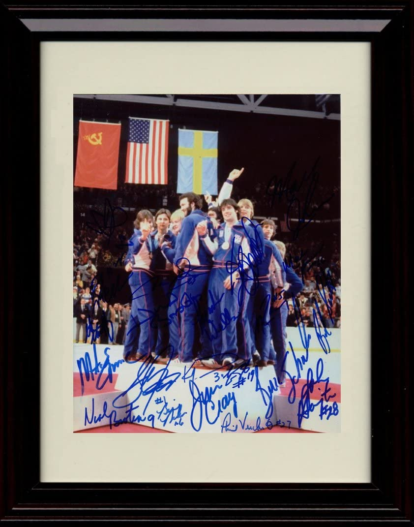 Framed 1980 US Olympic Hockey Team Medal Podium Autograph Replica Print - Miracle on Ice Team Signed
