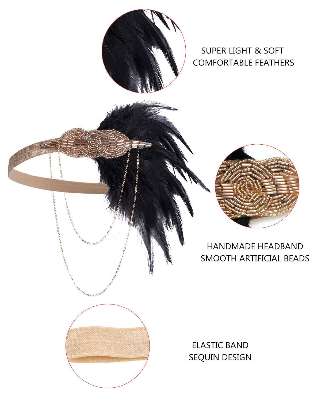 20er Jahre Zubehör-Set Feder-Stirnband, 1920er Jahre Kostüm für Frauen
