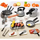 OMGOD 39 PCS Kitchen Playsets, Play House Toy Breakfast Stove Pots Utensils and Pans Food Pretend Cookware Cooking Play Kitchen Set Playset for Kids Girl Boy Toddlers
