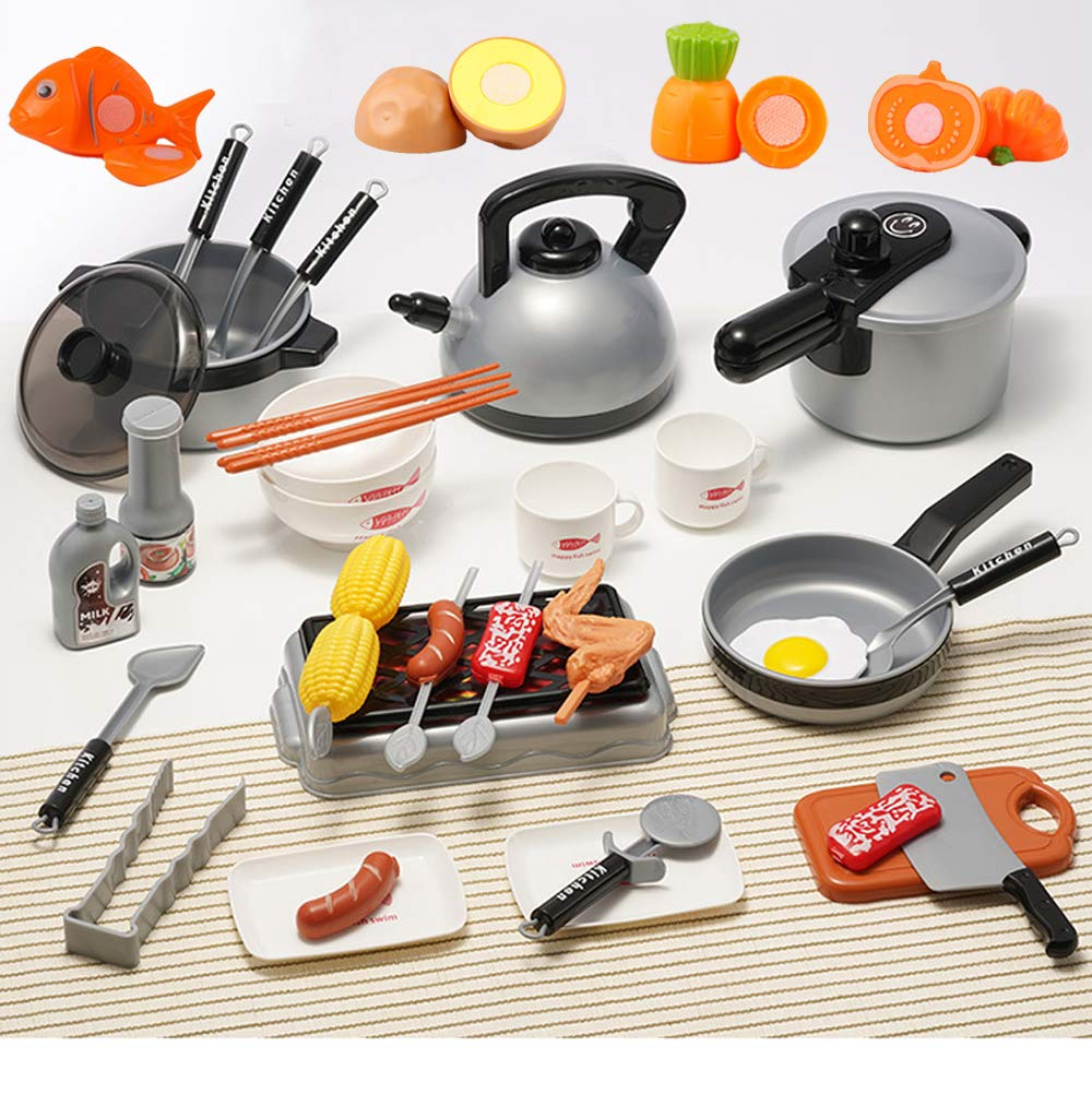 OMGOD 39 PCS Kids Kitchen Playsets Pretend Play Toys, Play House Toy Breakfast Stove Pots Utensils and Pans Food Pretend Cookware Cooking Play Kitchen Set for 3, 4, 5 Years Kids Girls Boys Toddlers by OMGOD