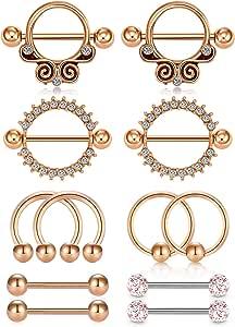 WillTen 6 Pares 14G Piercing Pezon Acero Inoxidable Caballo CZ Diamant Piercing Lengua Piercing Joyería para Mujer Hombre 14MM