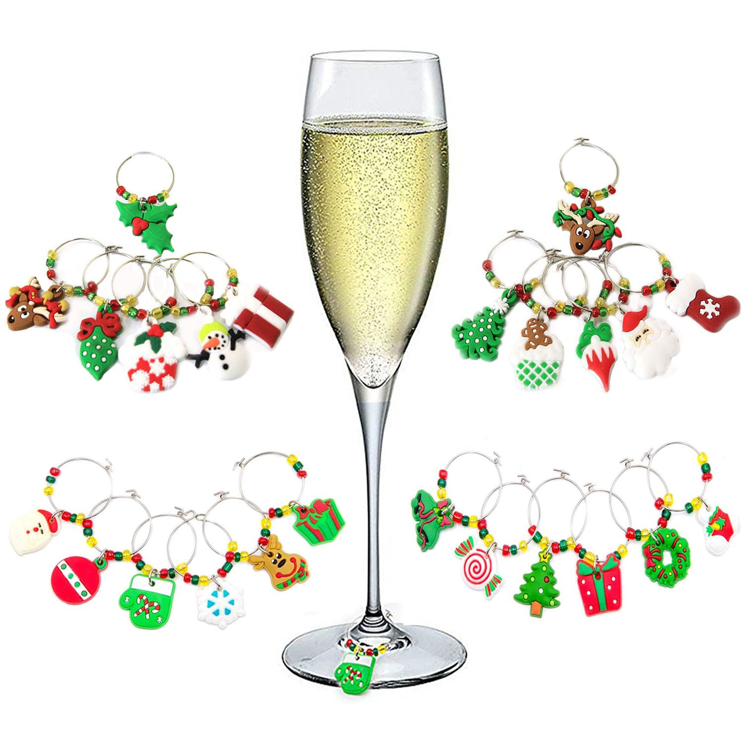 Hraindrop 24-Pieces Wine Glass Charms - Christmas Themed Wine Glass Markers, Wine Glass Tags, Drink Markers, Wine Favors, Assorted Colors