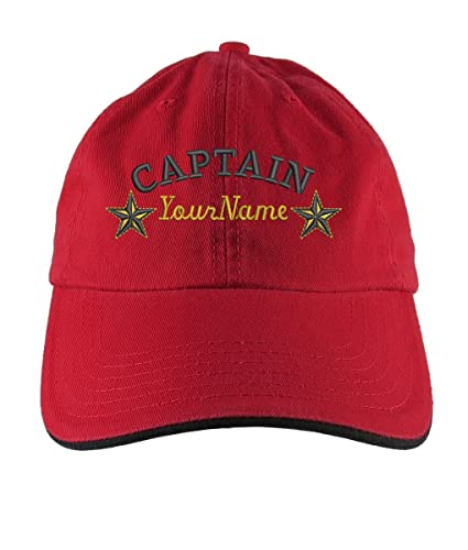 a5de12eb5d4e9 Personalized Captain Stars Your Name Embroidery Adjustable Red Black  Unstructured Low Profile Dad Hat with Option to Personalize the Back   Amazon.ca  ...