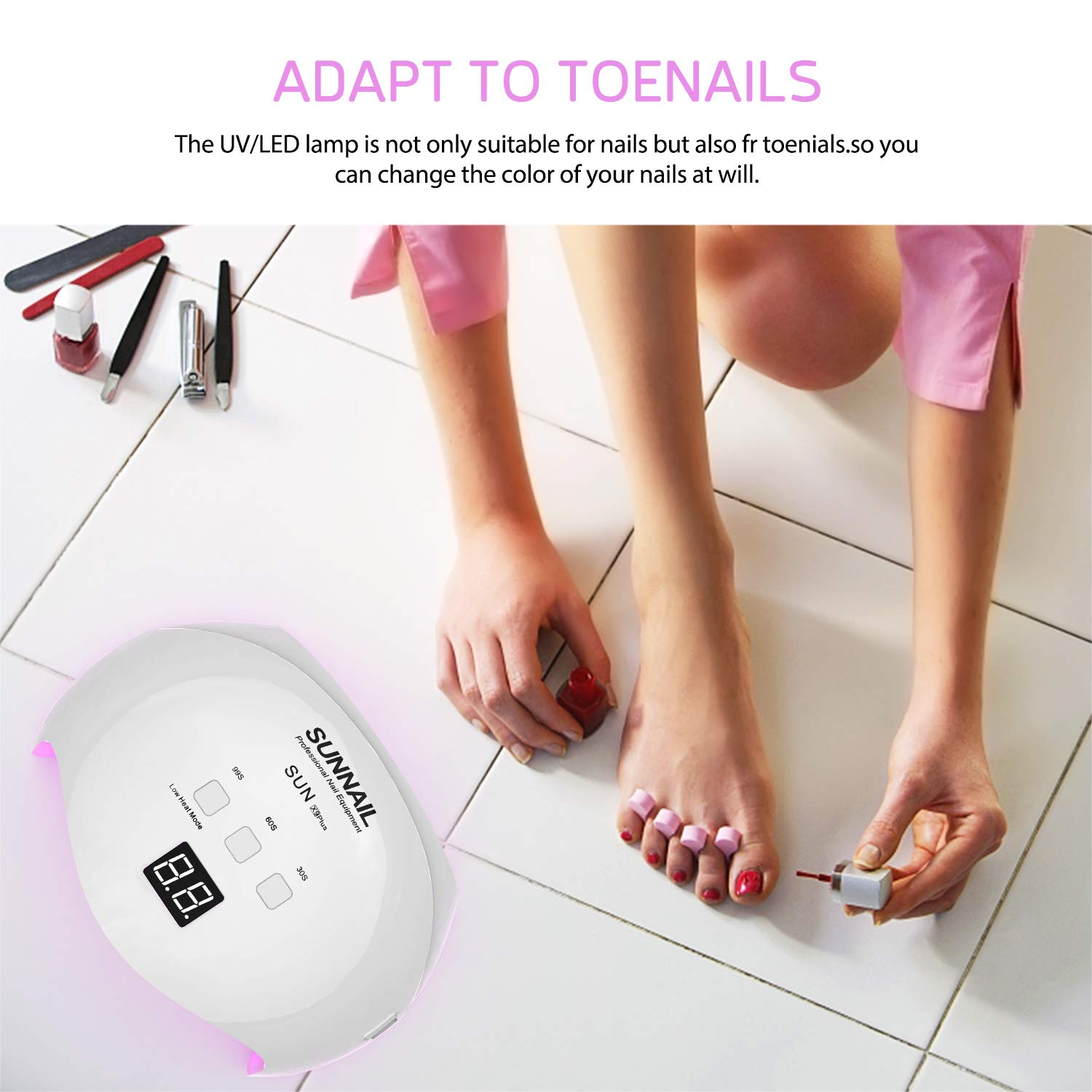 40W UV LED Nail Lamp, Fast Curing Gel Nail Dryer with 3 Timer Settings, Count Down LCD Display, Auto On/Off for Salons and Home, White