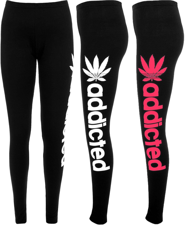 LCL-nuevo Mujer Eslogan Addicted Entrenar Estampado Amor Largo Integral Mujer Elástico Pantalones Leggings 8 - 14 TM-Love Celeb Look) - sintético, ...