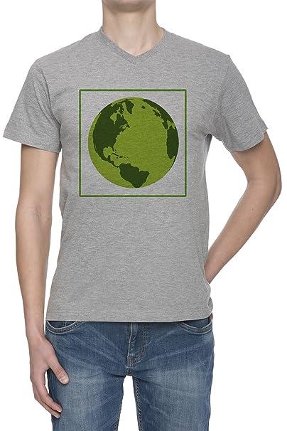 Tierra Verde Ecológica V Cuello Camiseta Para Hombre Gris Todos Los Tamaños | Mens Grey V