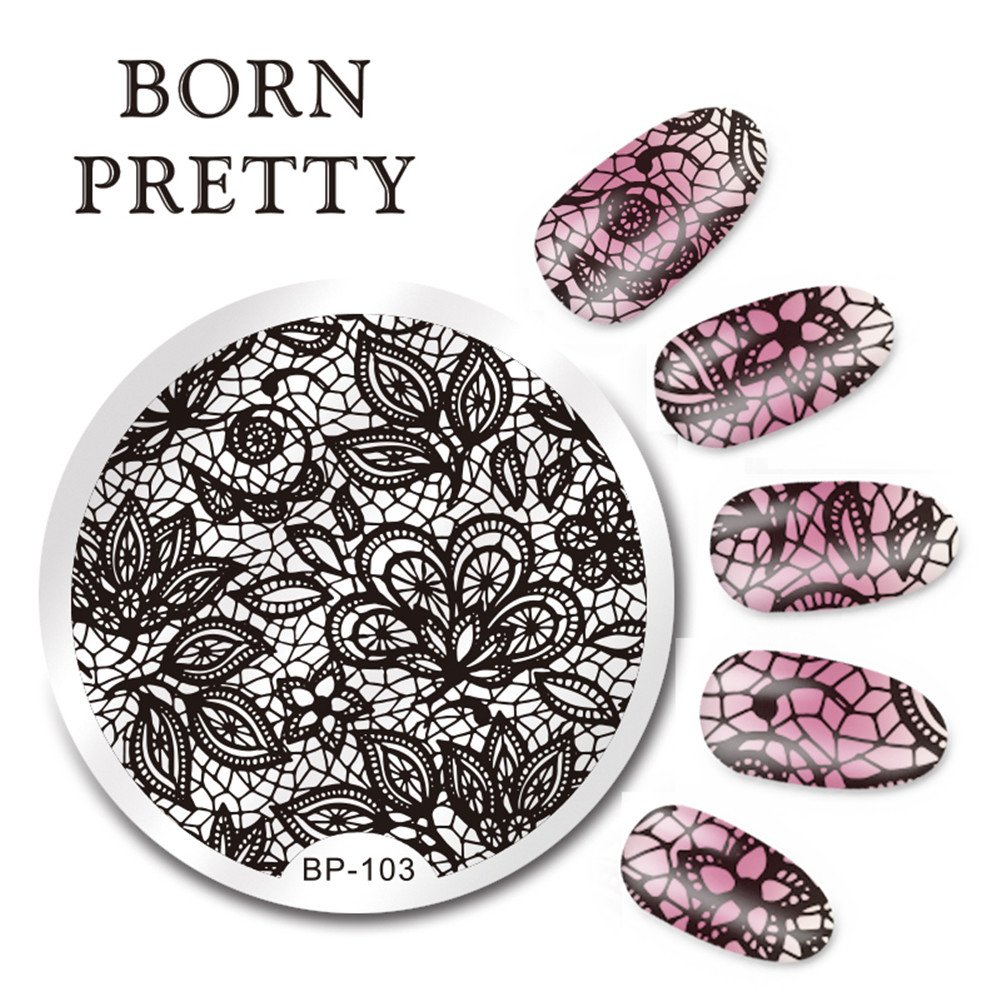 Born Pretty 5.5cm Round Nail Art Stamping Plates Lace Arabesque Design Image Plate BP-103 Born Pretty®BP-103