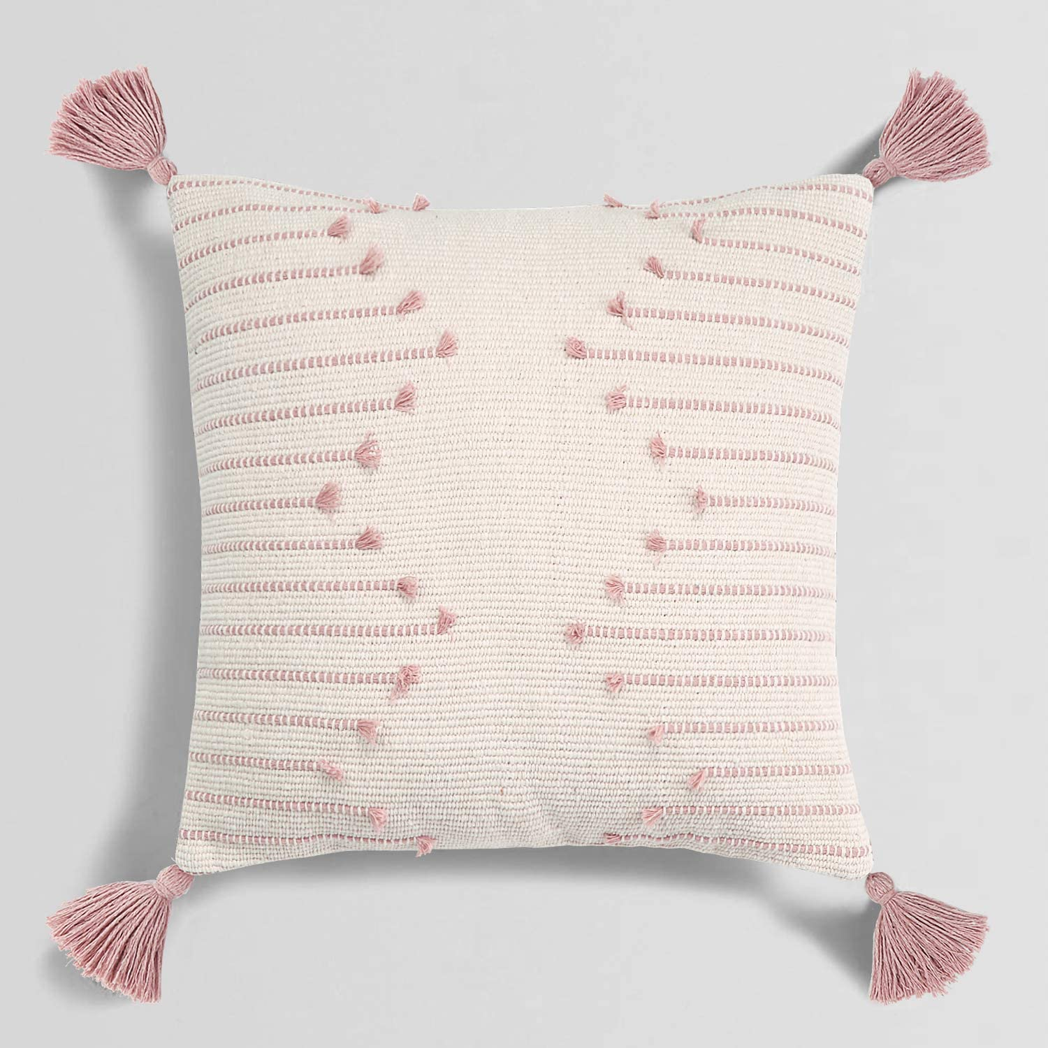Amazon Com Sungea Farmhouse Pink Throw Pillow Cover 18 X 18 Square Decorative Pillow Case Tribal Geometric Tufted Tassels Woven Cushion Cover Accent Neutral Collection For Sofa Couch Living Room Home Kitchen