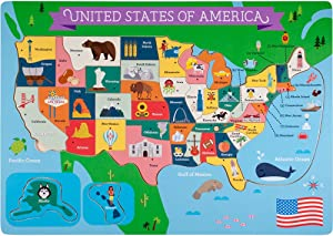 Professor Poplar's Fifty-Nifty States United States of America Wooden Jigsaw Puzzle Board, USA Map Puzzle with Lift & Learn Pieces (45 pcs.) by Imagination Generation