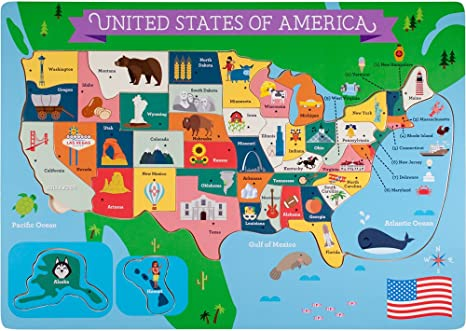 Chunky pieces heirloom quality- a great educational toy has States and Capitals Wooden map Puzzle of the USA