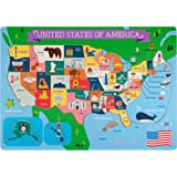 Professor Poplar's Fifty-Nifty States United States of America Wooden Jigsaw Puzzle Board (45 pcs.) by Imagination Generation