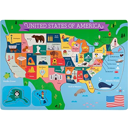 Professor Poplar\'s Fifty-Nifty States United States of America Wooden  Jigsaw Puzzle Board, USA Map Puzzle with Lift & Learn Pieces (45 pcs.) by  ...