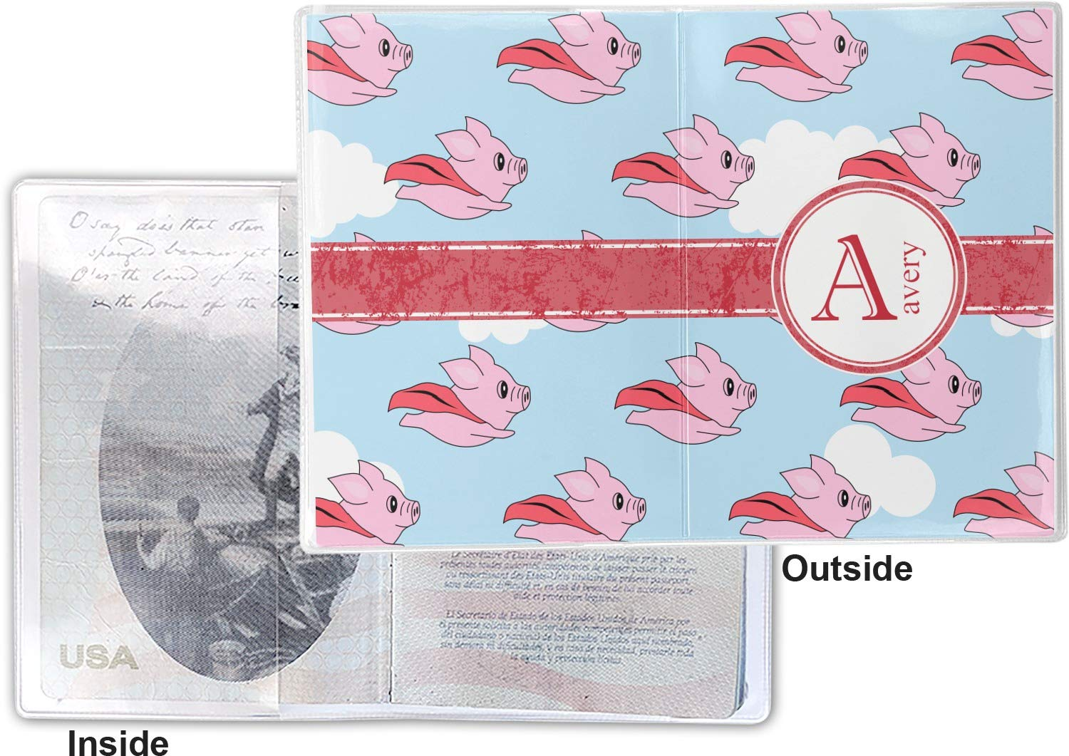 Personalized Flying Pigs Vinyl Passport Holder