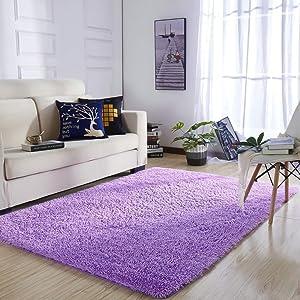 YOH Super Ultra Polyester Fiber Area Rugs Bedroom Mats Fluffy Shaggy Rugs for Living Room Bedroom Kids Room Nursery Home Decor 4 Feet by 5.3 Feet,Purple