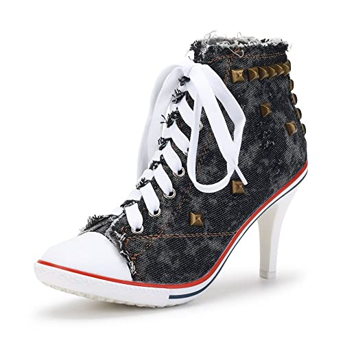 6112955a2e232 Women's Rivet Canvas Lace Up High Heel Fashion Sneakers Ankle Boots
