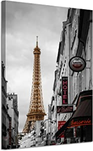 "Hardy Gallery Cityscape Artwork Pictures Paintings: Romantic Paris Love with Eiffel Tower Graphic Art Painting Print on Canvas for Home Wall Decorations(24"" x 18"", Black and White)"