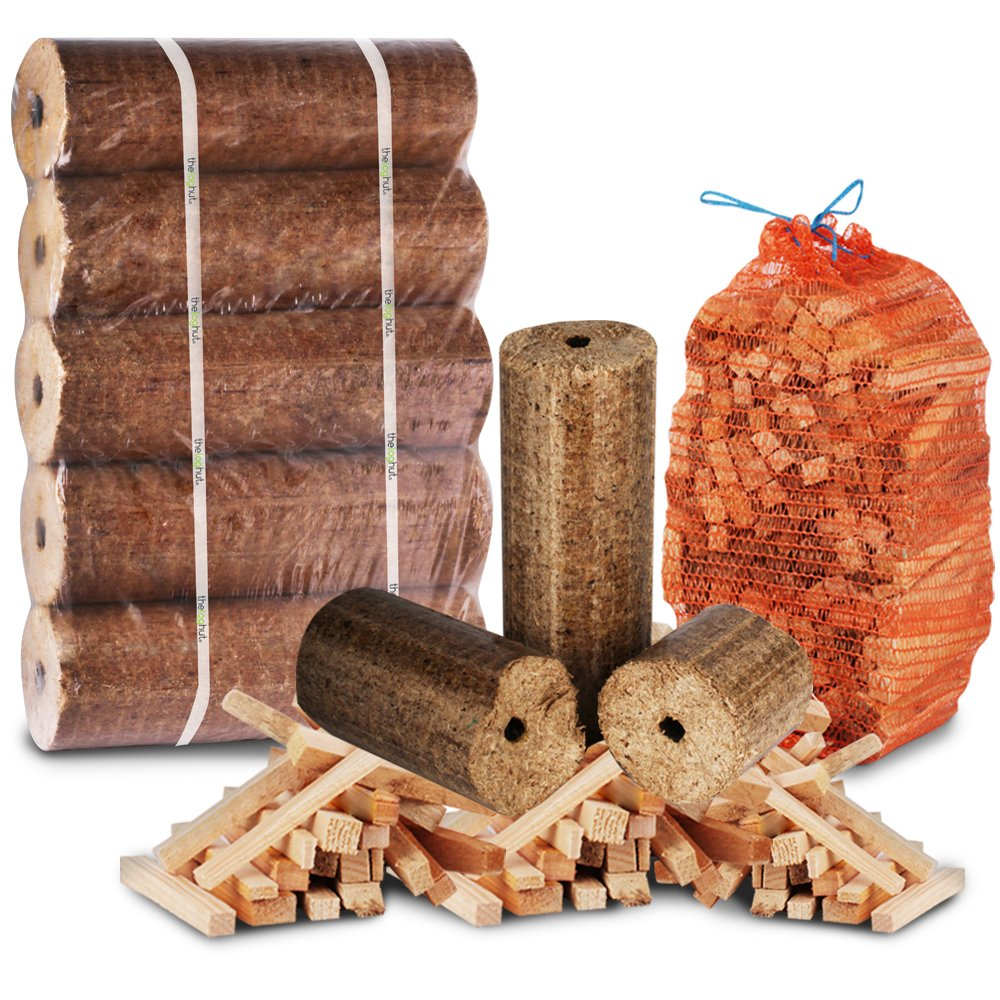 The Chemical Hut The Log Hut FIRE PIT & CHIMINEA STARTER PACK- Extra Large Wood Heat Fuel Logs + 3kg Kindling - Comes with THE LOG HUT Woven Sack.