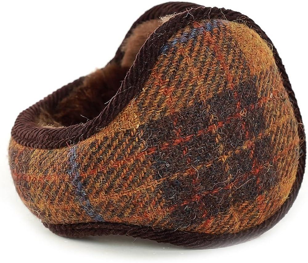 Gifts Treat Earmuffs Costume Tweed Pattern Yellowish brown