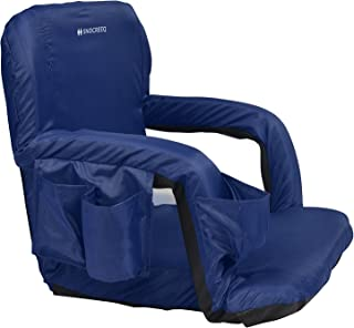 Snocreeq Portable Extra Wide Reclining Stadium seat Folding Sport Chair for Bleachers Benches Cushion Padded Back&armrests, Slip-&Water-Resistant, Easy-Carry Straps.(Blue)
