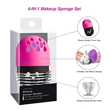 4-EN-1 Beauty Sponge Blender Sets Estuches de maquillaje ...