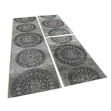 Läufer 80x300 bettumrandung 3 teilig kreis ornament teppich läufer meliert in grau