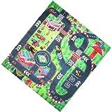 Magideal Kids Children Educational Crawling Activity Floor Mat Rug Racing Car Print Carpet Playmat with Alloy Car Toy (Multicolour)