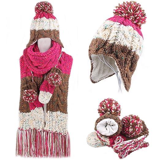 Winter Warm Women Wool Hat Scarf glove Set Women Knitted Hat Scarf Rose Red 1d49630b797