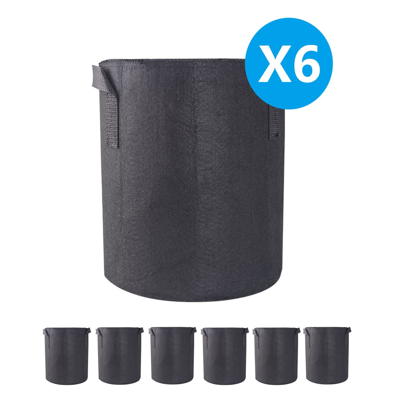A1KINGDOM 6-Pack 7 Gallon Grow Bags/Aeration Fabric Smart Pots/Plant Container with Handles