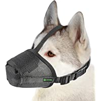 Lepark Nylon Mesh Dog Muzzle with Overhead Strap for Small,Medium and Large Dogs,Anti Biting, Barking and Chewing…