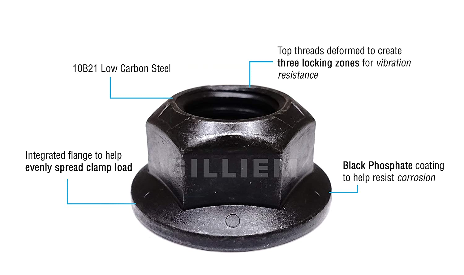 Integrated Washer to Help Spread Clamp Load Black Phosphate Finish for Corrosion Protection 5//8-11 GILLIEM Top Lock Flange Nuts Thread Locking for Vibration Resistance Pack of 20