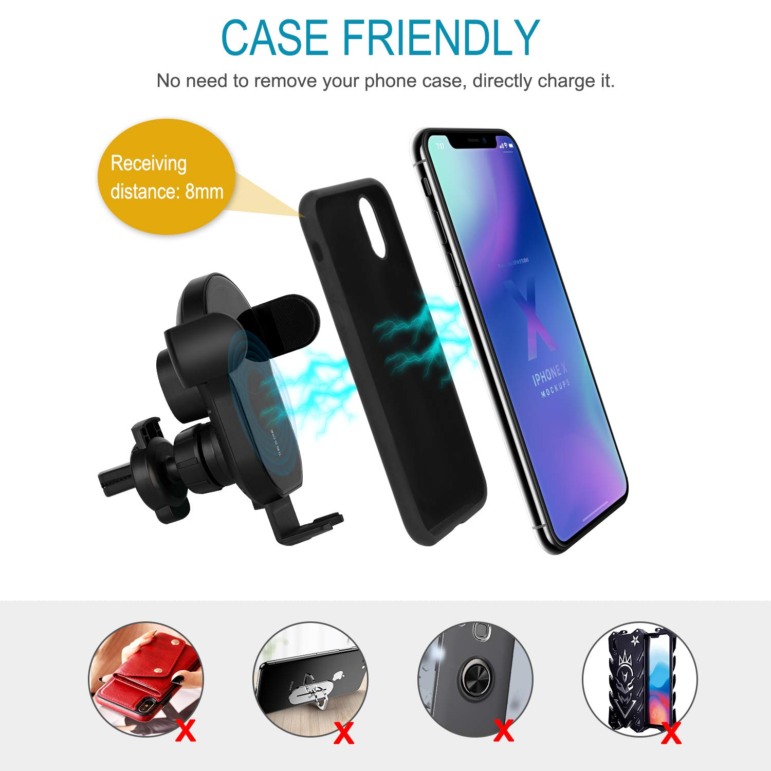 Auto Clamping Wireless Car Charger Air Vent Dashboard Car Phone Charger Holder for iPhone 11//11 Pro//11 Pro Max//Xs MAX//XS//XR//X//8//8 Plus,Samsung LOJIA 15W Fast QI Wireless Car Charger Mount