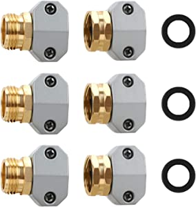 STYDDI Garden Hose Repair Fitting, Aluminum Mender Female and Male Hose Connector with Zinc Clamp, Fit 5/8-Inch and 3/4-Inch Garden Hose, 3 Sets